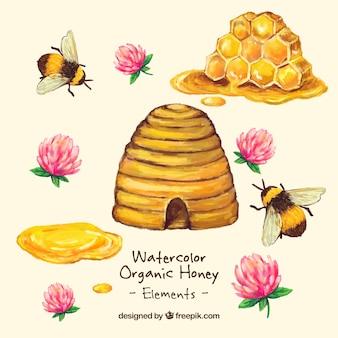 Handgemalte honig bio-honig mit blumen
