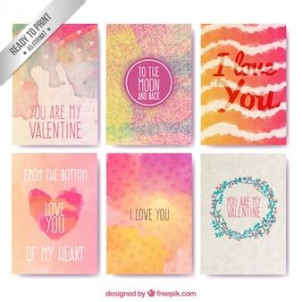 Handgemalte karten zum valentinstag sammlung