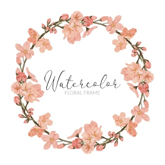 Handgemalte kirschblütenblumenillustration aquarell-frühlingskreisrahmen