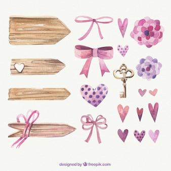 Handgemalte romantischen elementen
