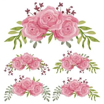 Handgemalte rosafarbene blumenkurvenanordnung
