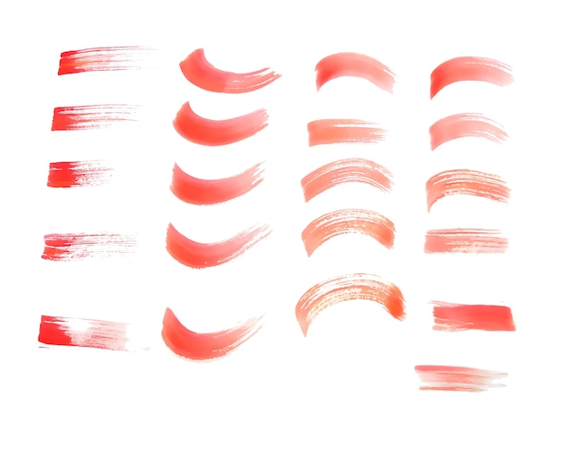 Handgemalte rote aquarellpinsel streicht textur