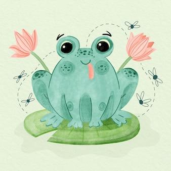 Handgemalte smiley-frosch-illustration