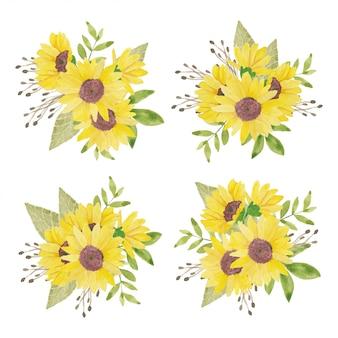 Handgemalte sonnenblumenanordnung des aquarells
