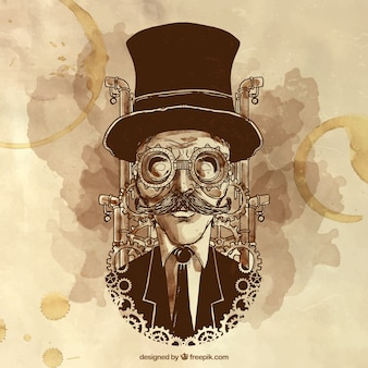 Handgemalte steampunk mann illustration