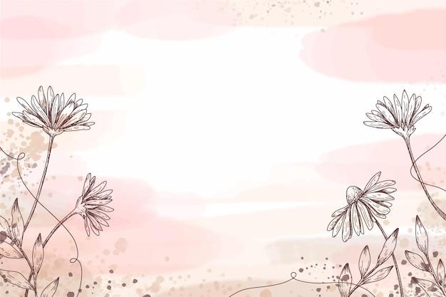 Handgemalte tapete mit handgezeichneten floralen elementen