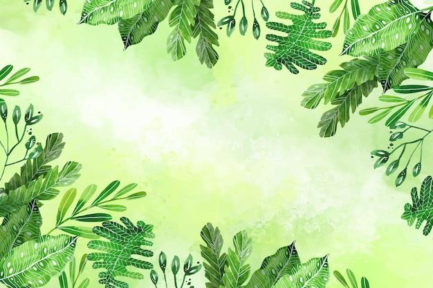 Handgemalte tropische blätter des aquarells hintergrund Kostenlosen Vektoren