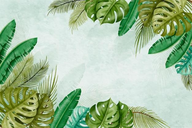 Handgemalte tropische blätter des aquarells hintergrund