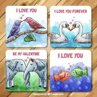 Handgemalte valentine karten mit tieren in der liebe