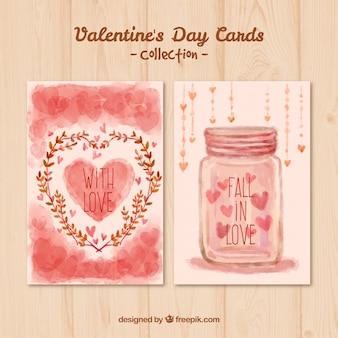 Handgemalte valentines tag karten in rosa farbe