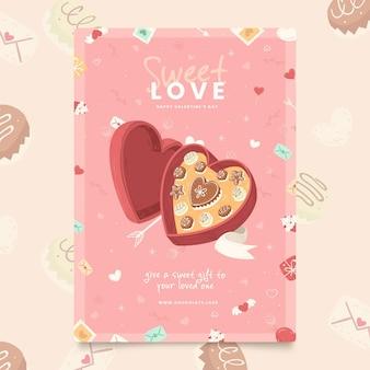 Handgemalte valentinstag party flyer vorlage