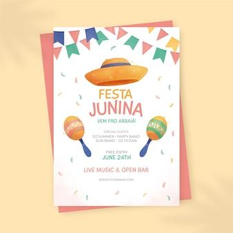 Handgemalte vertikale plakatschablone der aquarellfesta junina