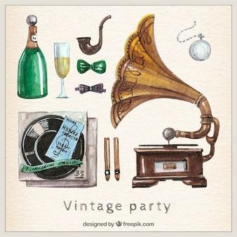 Handgemalte vintage party elements
