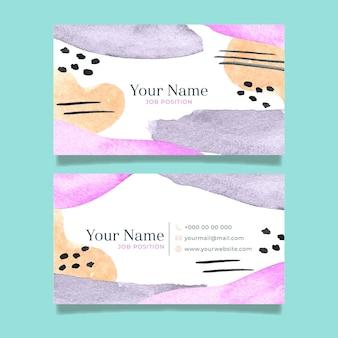 Handgemalte visitenkarten mit abstrakten formen