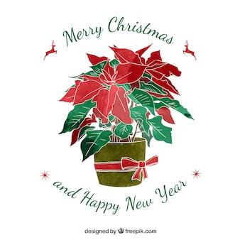 Handgemalte weihnachten blumentopf karte