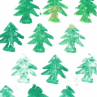 Handgemalte weihnachtsbäume