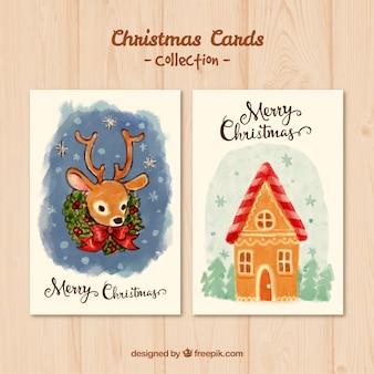 Handgemalte weihnachtskarte pack