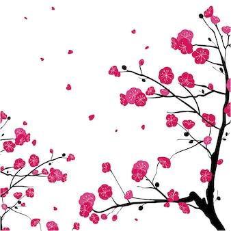 Handgemalte zweige des rosa pflaumenblütenhintergrunds
