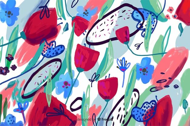 Handgemalter abstrakter blumenhintergrund