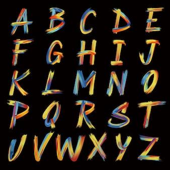 Handgemalter alphabetentwurf