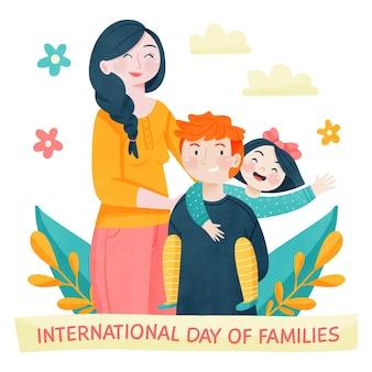Handgemalter aquarell internationaler tag der familienillustration