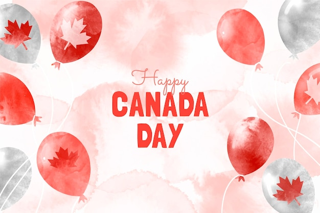 Handgemalter aquarell-kanada-tagesballonhintergrund