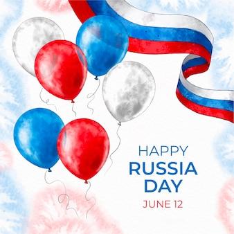 Handgemalter aquarell-russland-tageshintergrund mit luftballons