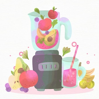 Handgemalter aquarell-smoothie