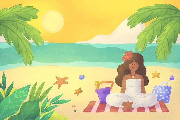 Handgemalter aquarell-sommerhintergrund für videoanrufe