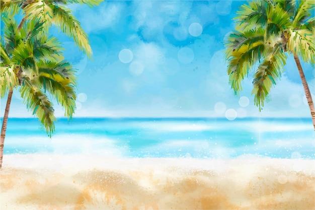 Handgemalter aquarell-sommerhintergrund
