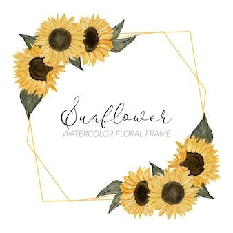 Handgemalter aquarell-sonnenblumenblumenrahmen für dekorationselement
