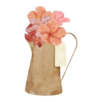Handgemalter aquarell tropischer hibiskus-blumen-arrangement-bouquet