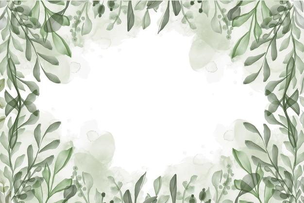 Handgemalter aquarellblattgrünhintergrund