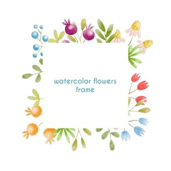 Handgemalter aquarellblumenrahmen