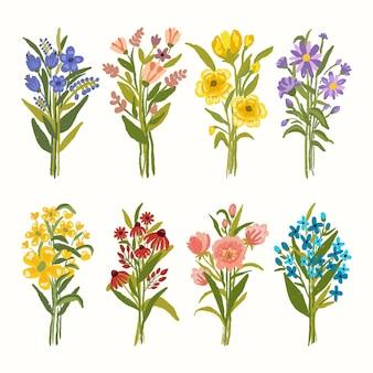 Handgemalter aquarellblumenstrauß warme blumenarrangementsammlungen für dekorationsillustration