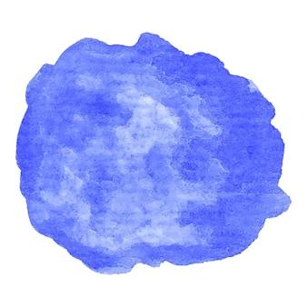 Handgemalter aquarellklecks. hochauflösende hohe qualität. blauer seehintergrund auf strukturiertem papier. rundes grafikdesignelement lokalisiert auf weiß. vektor-illustration.