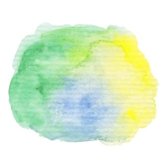 Handgemalter aquarellklecks. hochauflösende hohe qualität. grüne und blaue helle farben. abstrakter frühlingssommersaisonhintergrund. rundes grafikdesignelement lokalisiert auf weiß. vektor-illustration.