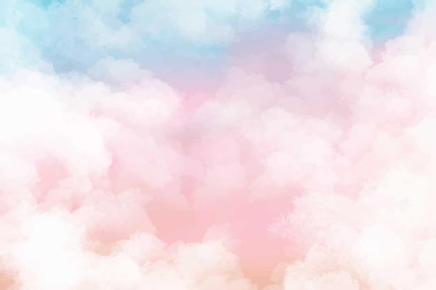 Handgemalter aquarellpastellhimmelwolkenhintergrund