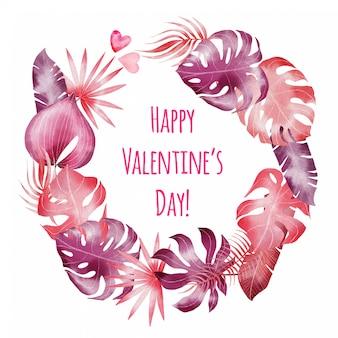 Handgemalter glücklicher valentinsgrußtag botanischer kranz