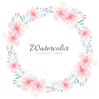 Handgemalter hibiskusblumenkreisrahmen des aquarells
