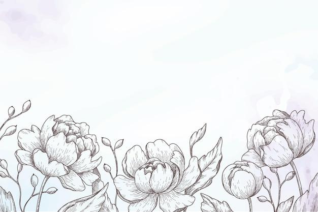 Handgemalter hintergrund mit gezeichneten blumen