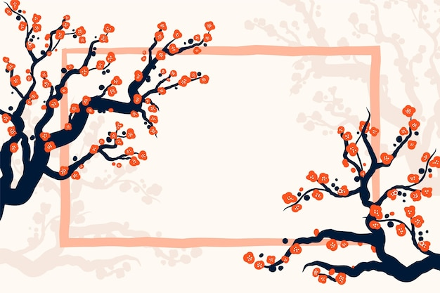 Handgemalter pflaumenblütenhintergrund