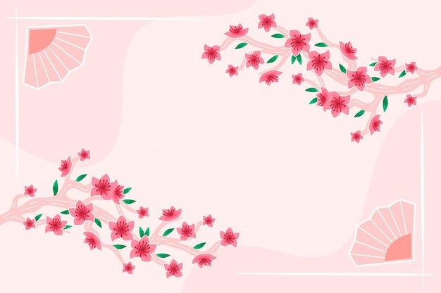 Handgemalter pflaumenblütenhintergrundkopierraum