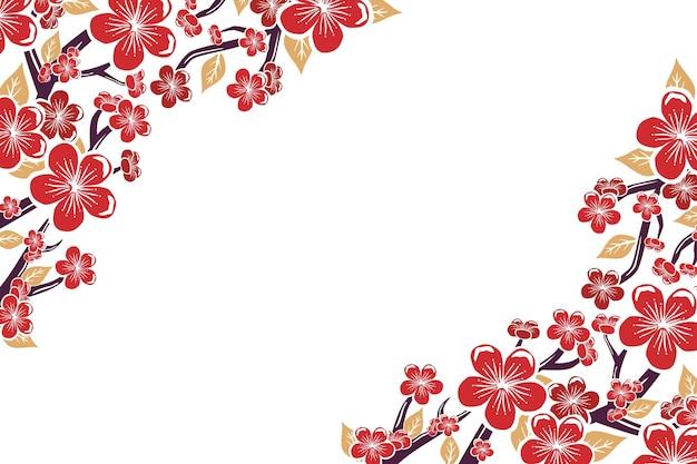 Handgemalter rosa pflaumenblütenhintergrundkopierraum