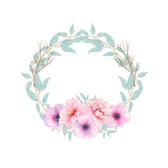 Handgemalter runder kranz des aquarells mit der rosa pfingstrosenanemone der blume und grünblättern lokalisiert auf weiß