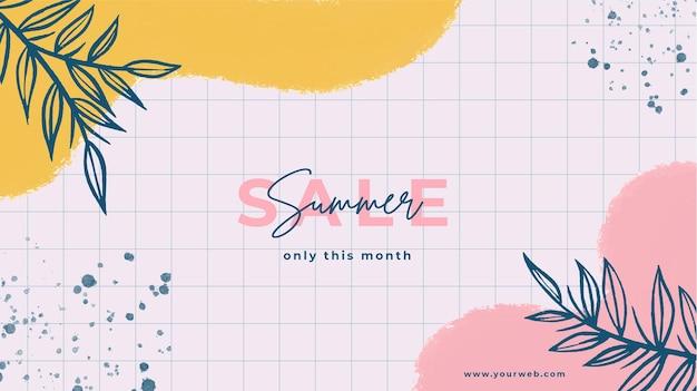 Handgemalter sommerschlussverkaufshintergrund mit gemalten flecken und blättern