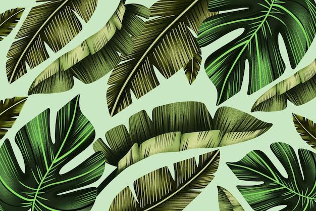 Handgemalter tropischer blätterhintergrund
