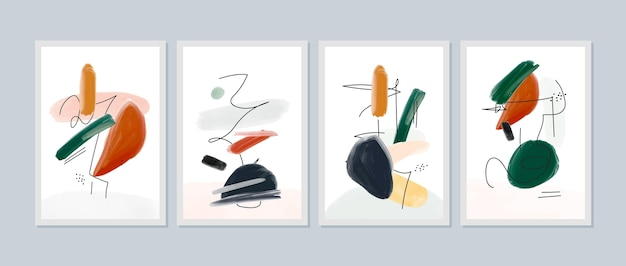 Handgemaltes abdeckungsset der abstrakten kunst