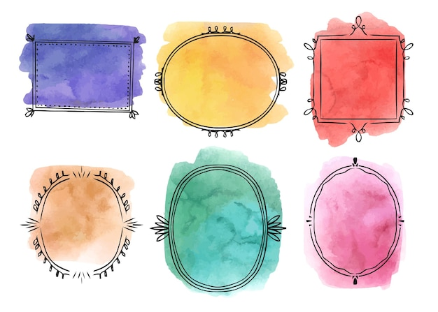 Handgemaltes aquarell-doodle-rahmen-set