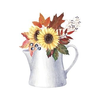 Handgemaltes aquarell fallen blumenstrauß mit blättern, blumen und beeren in der teekanne. vektor-illustration
